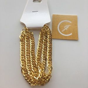 Jewelry - Yellow gold plated 3 chained bracelet